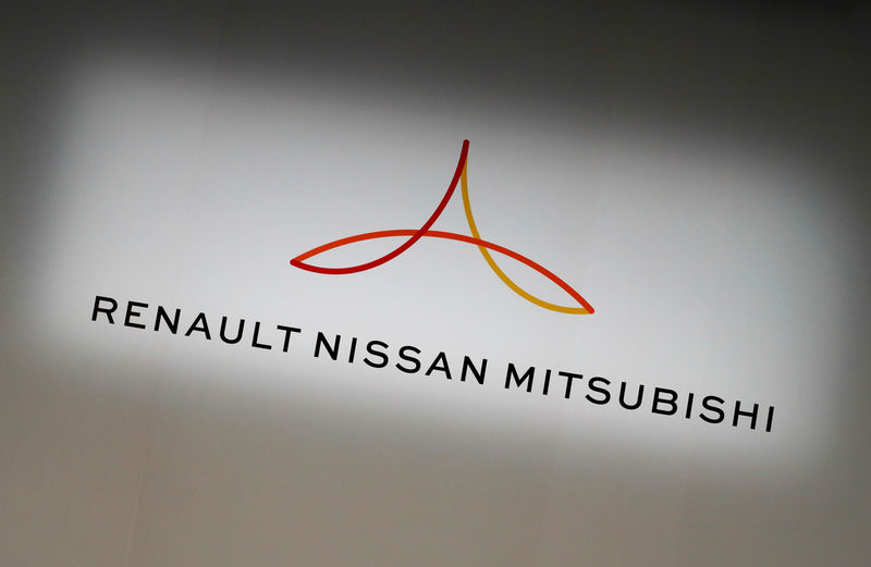 FILE PHOTO: The logo of the Renault-Nissan-Mitsubishi alliance is seen ahead of a Renault, Nissan and Mitsubishi chiefs' joint news conference in Yokohama, Japan, March 12, 2019. REUTERS/Kim Kyung-Hoon